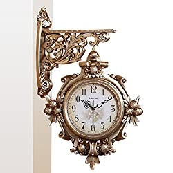 LANNA SHOP- European Retro Luxury Wall Clock Living Room Hanging Silent Fashion Double sided Clocks ( Color : Bronze )