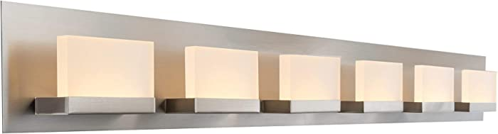 "Kira Home Everett 48"" Modern 6-Light 38W Integrated LED (360W eq.) Bathroom/Vanity Light, Rectangular Acrylic Lenses, Energy Efficient, Eco-Friendly, 3000k Warm White Light, Brushed Nickel Finish"