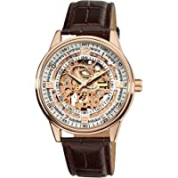Akribos XXIV Men's 'Saturnos' Automatic Stainless Steel and Leather Dress Watch(Model: AK410RG)