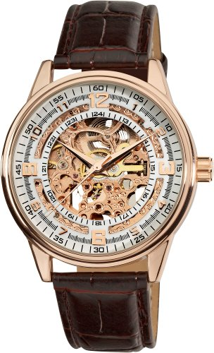 Akribos XXIV Men's AK410RG 'Saturnos' Skeleton Automatic Gold Round Watch