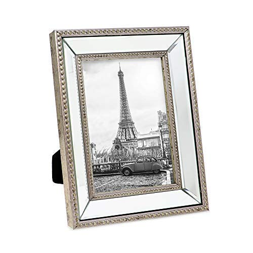Isaac Jacobs 5x7 Champagne Mirror Bead Picture Frame - Classic Mirrored Frame with Dotted Border Made for Wall Display, Tabletop, Photo Gallery and Wall Art (5x7, Champagne)