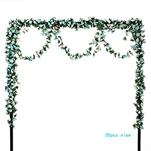 Felice Arts 4pcs Artificial Flowers 8.2 FT Fake Plastic Fabric Silk Artificial Rose Flower Wisteria Ivy Hanging Vine Garland for Home Wedding Table Decoration 2