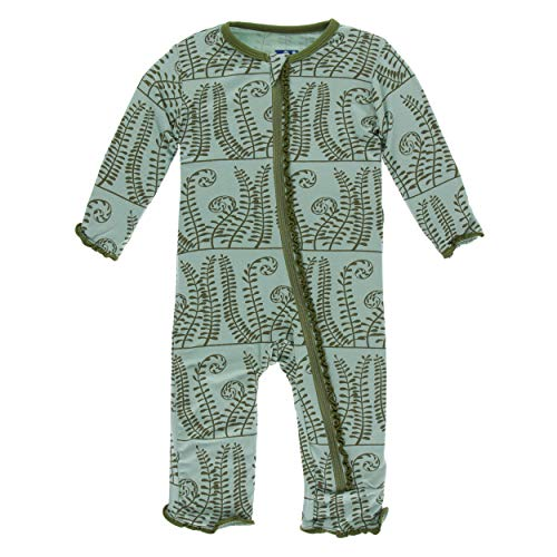- Kickee Pants Little Girls Print Muffin Ruffle Coverall with Zipper - Shore Ferns, 5 Years