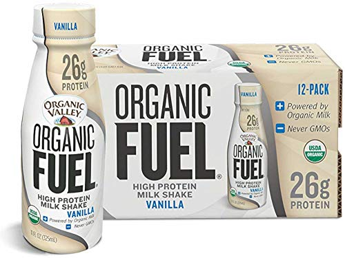 Organic Valley Milk Protein Shake, Healthy Snacks for Post Workout Recovery, Organic Fuel High Protein 26g, Vanilla, 11oz (Pack of 12)