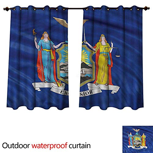 cobeDecor American Outdoor Ultraviolet Protective Curtains New York Flag Hudson River W96 x L72(245cm x 183cm)