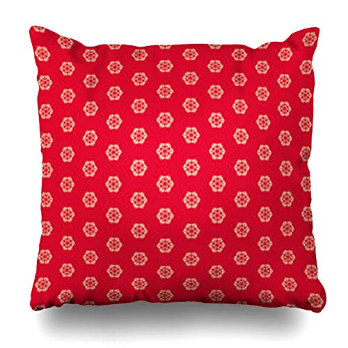 Melyti Throw Pillow Cover Snowflake Beige Christmas Geometric Snowflakes Red Abstract Pattern Classic Festive Filigree Flake Home Decor Pillowcase Square Size 16 x 16 Inches Zippered Cushion Case ()