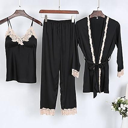 Wanglele Pijama Mujer De Satén De Seda De Primavera Y Verano Tirantes Robe Pantalones Tres Trajes