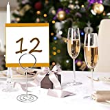 Table Number Card Holders, 25 Pack Wire Shape Table Photo Holder Table Picture Stand Place Card Holder for Wedding Party Gatherings Office Desk Paper Menu Clips