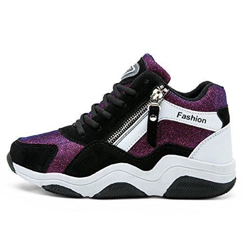 LILY999 Damen Sneakers High Top Sportschuhe Wedges Keilabsatz 7cm Schuhe Laufschuhe Atmungsaktive Freizeitschuhe Turnschuhe Violett/Weiß