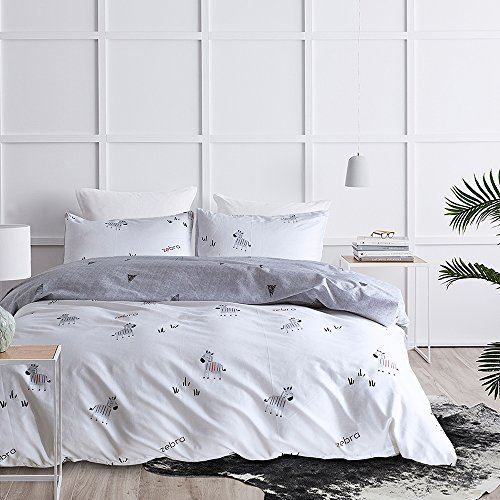 EIGOAL Cotton Duvet Cover Set Zebras Printed Reversible Comforter Cover with Pillowcases Ultra Soft Animals Cute Bedding Set for Kids & Adults Twin/Queen/King Size by EIGOAL