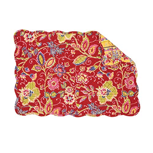 C&F Home Estella Bright Red Yellow Blue Floral Flower Place Mats Rectangular Cotton Quilted Reversible Washable Placemat Set of 6 Rectangular Placemat Set of 6 Estella