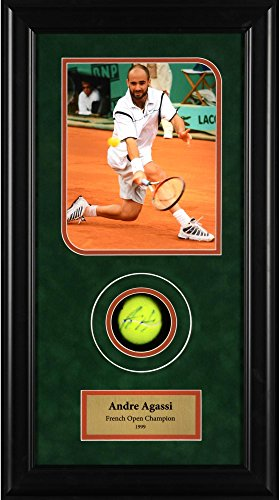Andre Agassi Autographed Tennis Ball French Open Shadowbox - Fanatics Authentic Certified - Autographed Tennis Ball Shadowboxes - Andre Agassi Memorabilia