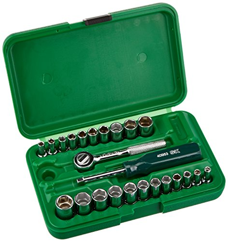 (SK Hand Tool 91824 1/4-Inch Drive Semi-Deep Socket Set, 24-Piece)