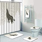 Philip-home 5 Piece Banded Shower Curtain Set Winter by Wolf Silhouette Howls in Woods Leafless Trees Snowflakes Wilderness Nature Eggshell White Decorate The Bath