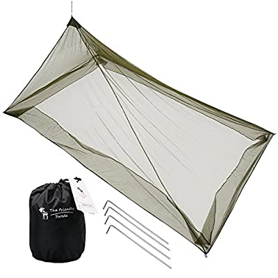The Friendly Swede Mosquito Net Canopy for Single Camping Bed, Tent Pegs Included - Compact and Lightweight Pyramid Net