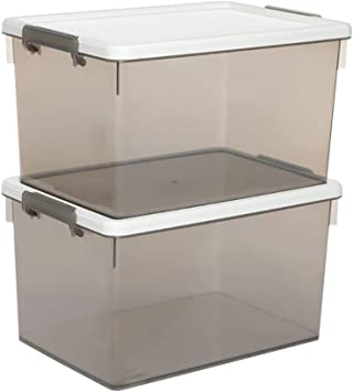 GaoXu Aufbewahrungskiste Caja para Guardar Caja, plástico Ropa Caja presupuesto Niños Juguete Caja Transparente Caja 2 Packs Caja: Amazon.es: Hogar