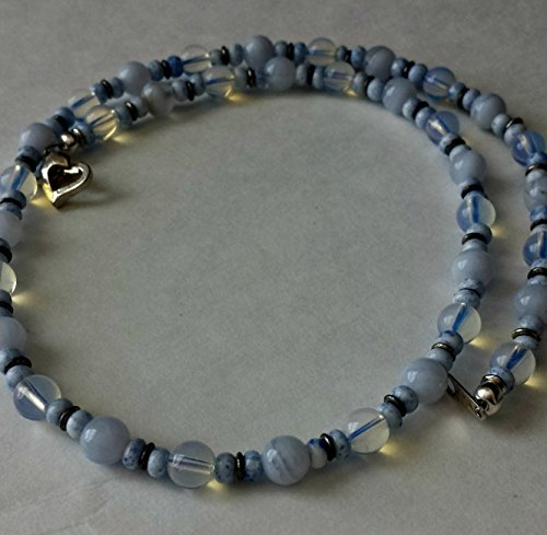 (Blue Lace Agate, Opalite, Seed Beads, Silver-Plated Necklace)