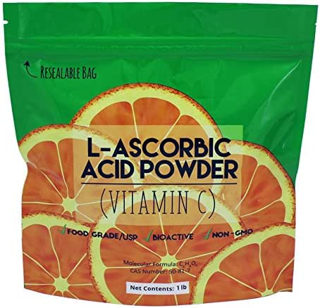 L-Ascorbic Acid Powder 99.98+% Food Grade USP/BP Naturally Fermented Pure White Crystals Form of Vitamin C - Choose Size