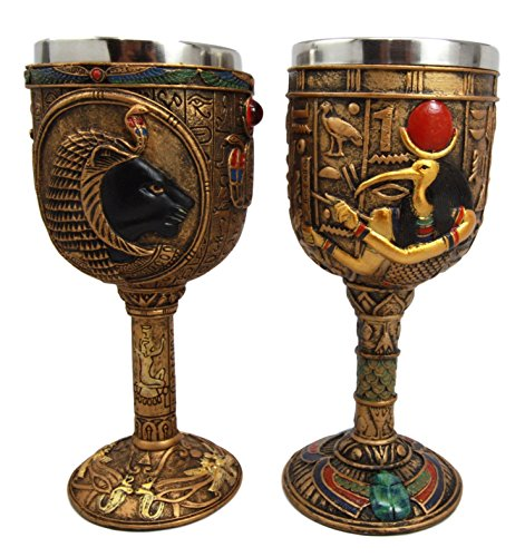 Atlantic Collectibles Ancient Egyptian God Of Knowledge & Technology Thoth & Sekhmet Goddess of War 6oz Resin Wine Goblet Chalice With Stainless Steel Liner Set of (Major Egyptian Gods)
