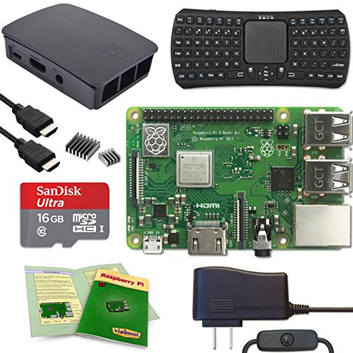 Viaboot Raspberry Pi 3 B+ Deluxe Kit — Official 16GB MicroSD Card, Official Rasbperry Pi Foundation Black/Gray Case, Bluetooth Keyboard Edition by Viaboot
