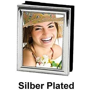 EDZARD Marco de Fotos con Borde de Perlas Chapado en Plata Noble para Fotos 10 x 15 para 100 Fotos