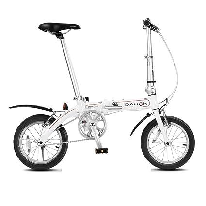 Monociclos Bicicleta Plegable Bicicleta Unisex Mini Bicicleta Adulta Bicicleta pequeña Rueda portátil (Color : Blanco