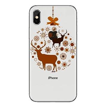 Freesiom Coque Iphone 7 8 Silicone Transparente Noël Motif Pere Noel