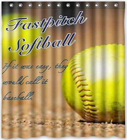 Amazon 66w X 72h Yellow Softball Theme Print 100