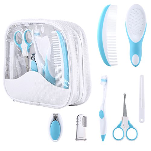 Baby Grooming Kit, 7pcs/Set Safe Hair Comb ToothBrush Nail Clipper Scissors Healthcare Daily Nurse Shower Tool Set with Carry Bag for Unisex Newborn Toddler Infant Girls and Boys Kids (Blue) from Yosoo