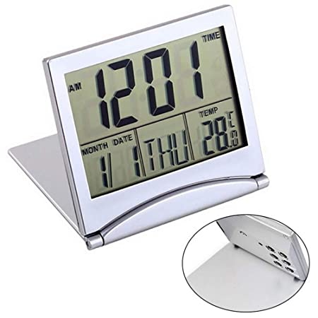 Shuangklei Plegable LCD Reloj Despertador Digital Mesa De ...