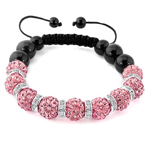 CandyCharms Shamballa Handmade Macrame Bracelet Pink Crystal Discoball Beads Adjustable