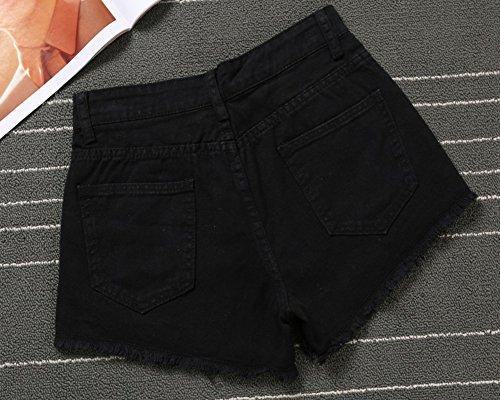 Estilo Ocio Agujeros Cortos Negro Vaqueros Jeans Cintura Bordado Pantalones Mujeres Skinny Alta Vaqueros Lagrimeo YvwPq