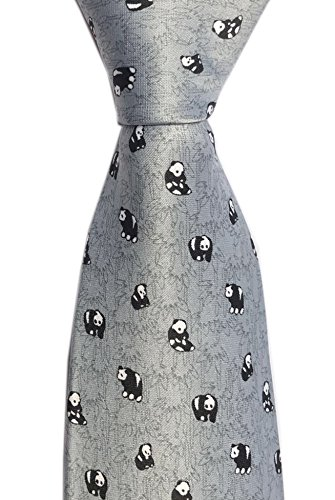 Secdtie Mens Classic Silk Tie Dragon Panda Printed Jacquard Woven Party Necktie (One Size, Small Panda Cyan Grey) by Secdtie (Image #1)