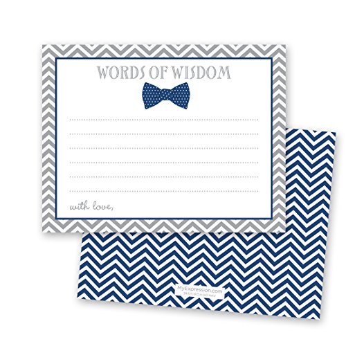 48 Bow Tie Baby Shower Advice Cards (Navy)