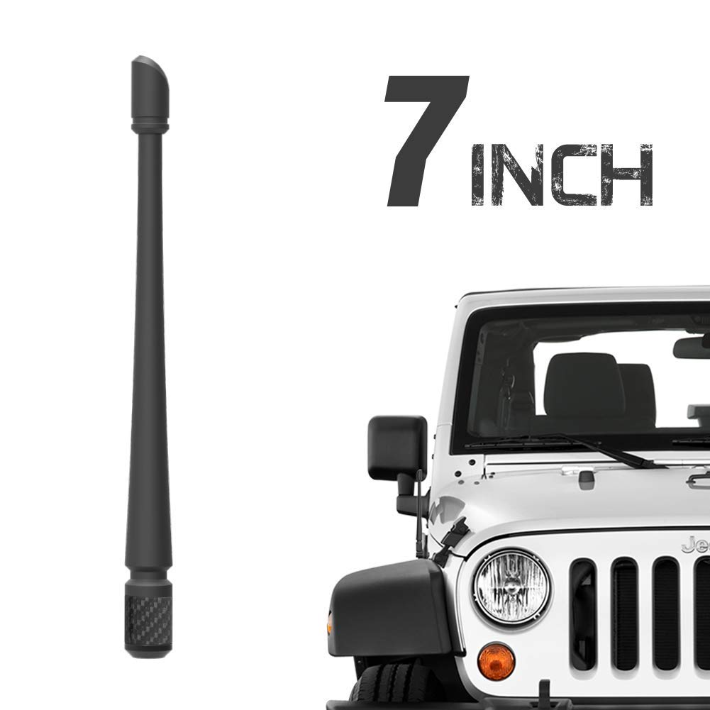 Rydonair Antenna Compatible with 2007+ Jeep Wrangler JK JKU JL JLU Rubicon Sahara Gladiator, 7 inches Flexible Rubber Antenna Designed for Optimized FM/AM Reception