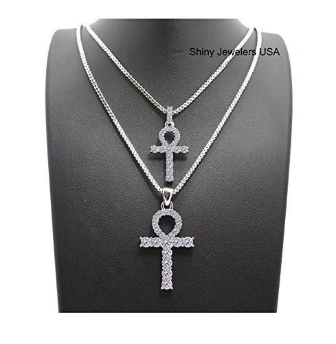 MENS HIP HOP SILVER ICED OUT MICRO DOUBLE ANKH CROSS PENDANT CUBAN ROPE BOX CHAIN NECKLACE SET (Silver Cuban chain 20