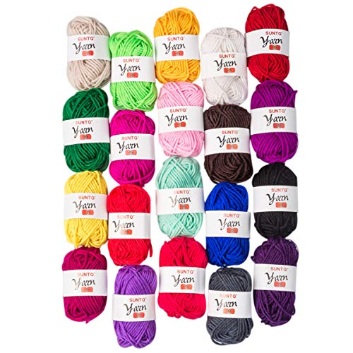 Yarn Wool Craft (SUNTQ 100% Acrylic Yarn 20 Assorted Colors Skeins Bonbons Yarn for Crochet & Knitting Assorted Rainbow Variety Colored Assortment)