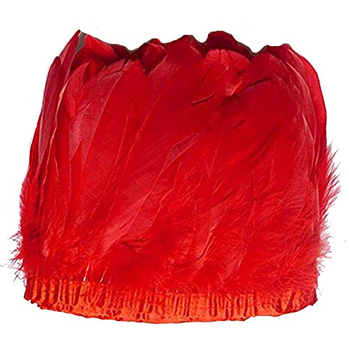 - MELADY 2 Yards Fashion Dress Sewing Crafts Costumes Decoration Goose Feathers Trims Fringe with Satin Ribbon Tape (red)