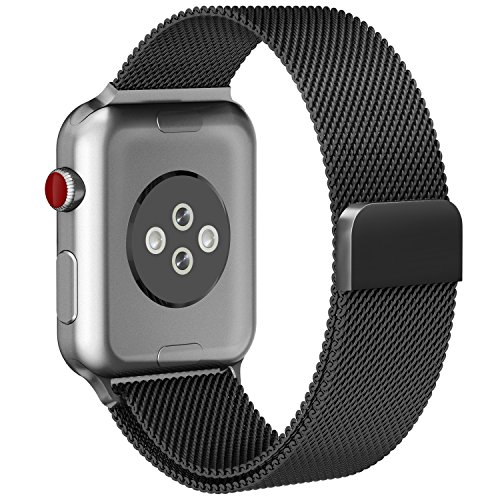 Price comparison product image For Apple Watch Band 42mm Fully Magnetic Closure Clasp Mesh Loop Milanese Stainless Steel iWatch Band for Apple Watch Series 3 Series 2 Series 1 Sport and Edition - Black (A- 42mm Black)