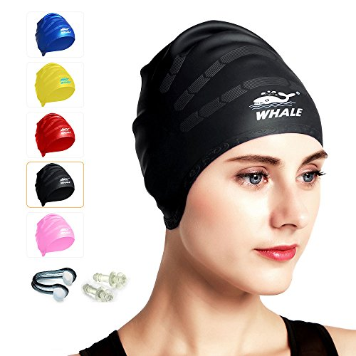 Large Swim Cap for Long Thick and Curly Hair Waterproof Silicone Swimming Caps For Women Men And Kids Ear Protection for Swimming Single Pack With Ear Plugs and Nose Clips - Large For Caps Extra Swim Heads