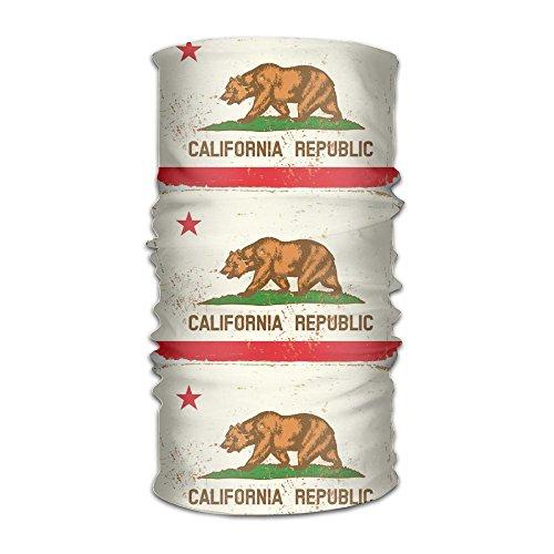 California State Flag Vintage Headwear Bandanas Headscarf Helmet Liner Head Wrap Scarf by WOOD-RAIN