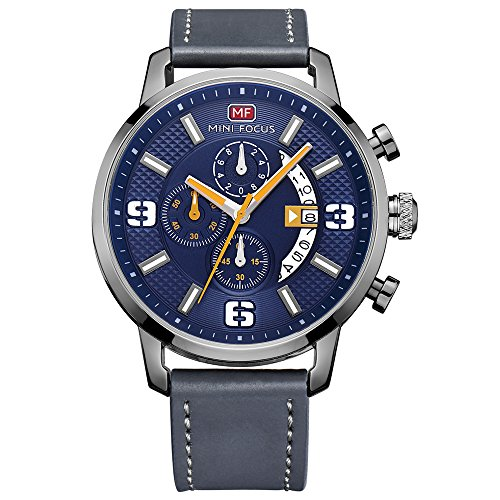 Mini Focus Men s Sports Military Multifunction Chronograph Watch with Calendar Display Leather Band