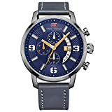 BOFUTE Men's Sports Military Multifunction Chronograph Watch with Calendar Display Leather Band(Blue Blue)