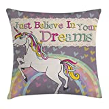 Ambesonne Teenager Decor Throw Pillow Cushion Cover, Unicorn with Believe in Your Dreams Inspiring Quotes Illustration, Decorative Square Accent Pillow Case, 18 X18 Inches, Pink Green Yellow