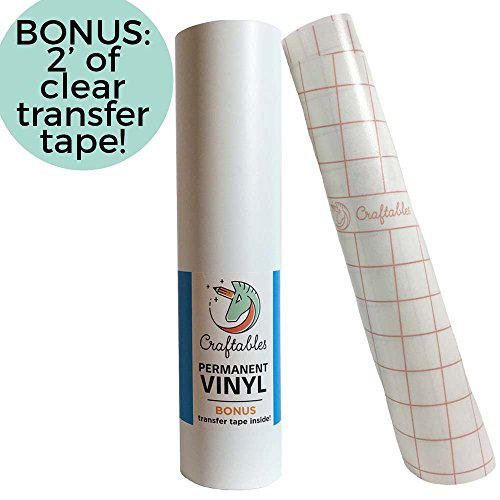 Craftables Matte White Vinyl Roll - Permanent, Adhesive, Matte & Waterproof | 12 x 10 | w/Premium Clear Transfer Tape - for Crafts, Cricut, Silhouette, Expressions, Cameo, Decal, Signs, Stickers