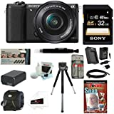 Sony Alpha a5100 ILCE5100 ILCE5100L/B with 16-50mm Lens 24MP Mirrorless Interchangeable Lens Digital Camera (Black) + Sony 16GB Class 10 Memory Card + Additional NP-FW50 Battery + Accessory Bundle