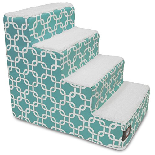 4 Step Portable Pet Stairs By Majestic Pet Products Teal Links Steps for Cats and Dogs Blue Turquoise (Turquoise Stair Carpet)