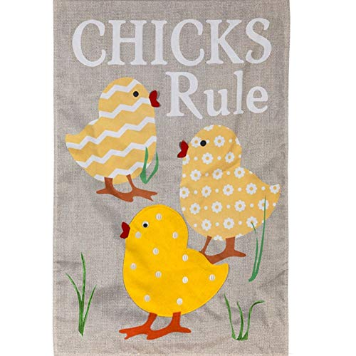 (Evergreen Burlap House Flag - Chicks Rule)