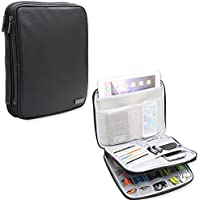 Teamoy Electronic Accessories Organizer Case, PU Leather Travel Carry Bag with 9.7 iPad Sleeve, Perfect for Cables, USB Flash Drive, Plug, Power Bank, Passport, Business Cards, etc..