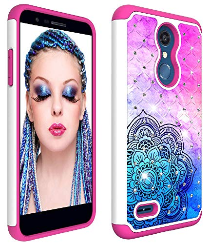 - Wiitop for LG K10 2018 Case, K30 K10 Alpha X4 Plus [Heavy Duty] Tough Dual Layer 2 in 1 Rugged Rubber Hybrid Hard Plastic Soft TPU Back Protective Cover Coloured Drawing Glitter Crystal Colour Datura